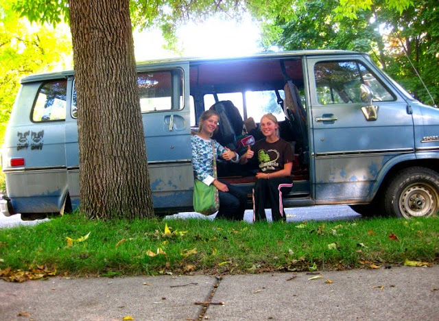 hannah and claire camping in the van