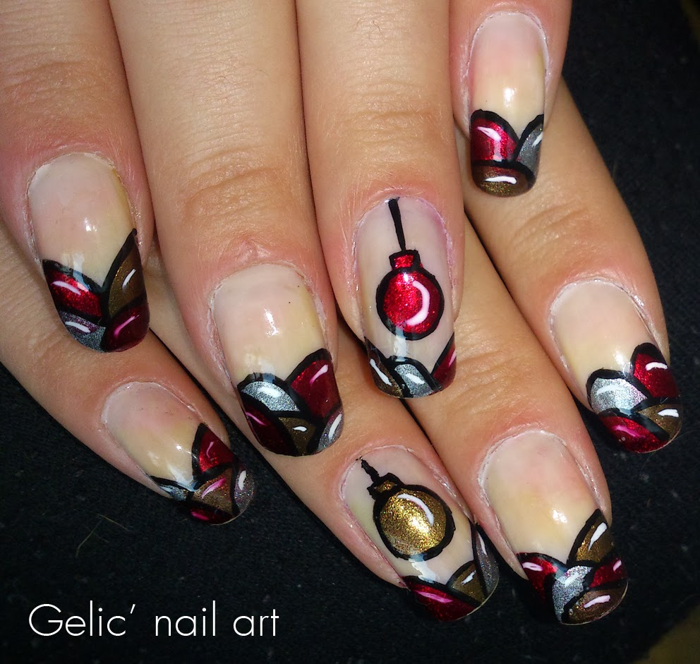 Christmas 2013 Nail Art: Gelic' Nail Art: Christmas Ornament Funky French Nail Art