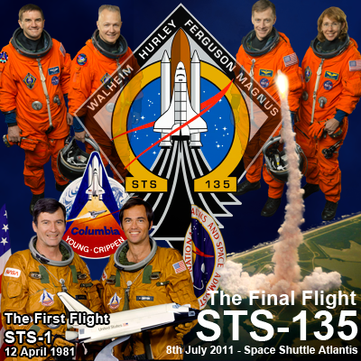 Atlantis – STS135 – First Mission STS-1: Astronauts John Young and Bob Crippen onboard Columbia on 12 April 1981. Last Mission STS-135: Mission specialist Rex Walheim, pilot Doug Hurley, commander Chris Ferguson and mission specialist Sandy Magnus onboard Atlantis 8 July 2011. NASA 2011.