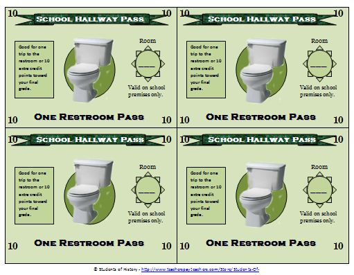 Bathroom Passes For Middle School 1000 Images About Math Hall Passes