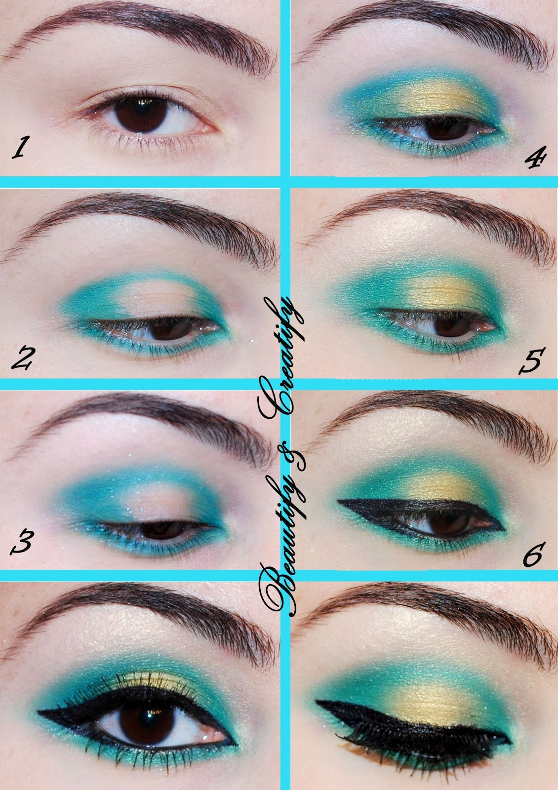 Beautify And Creatify Turquoise And Gold Makeup Look