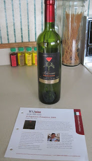wine bottle and wine card