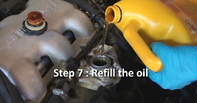 step 7 in an oil change refill the oil