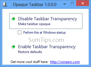 Disable Windows 8 Taskbar Transparency with Opaque Taskbar