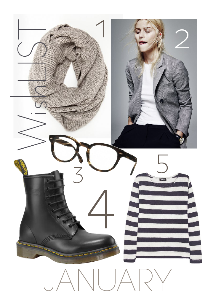My wishlist for January: Dr. Martens, vest and striped shirt