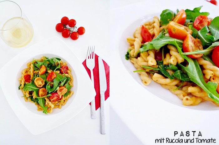 Pasta mit Rucola und Tomate
