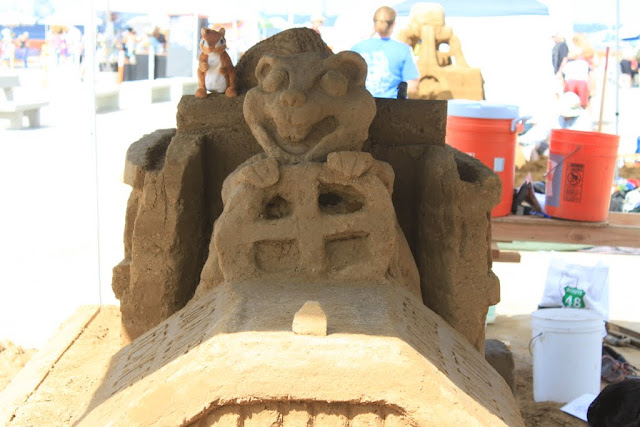 The close up view of the Sand Squirrels Rescue Team Sculpture at the U.S Sand Sculpting Challenge 2012 in San Diego, California, USA