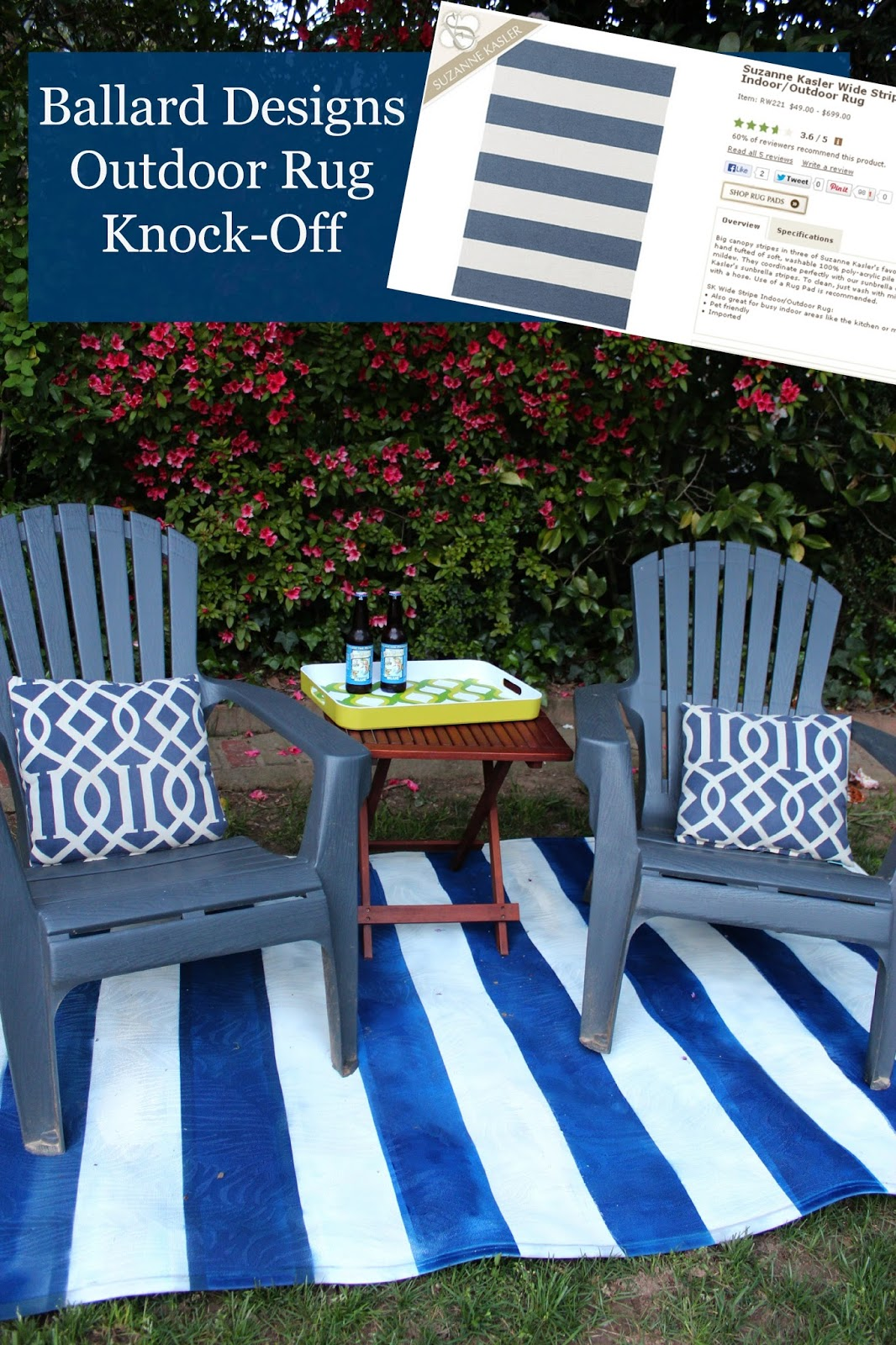 Tutorial Ballard Painted Striped Outdoor Rug Knock Off Southern