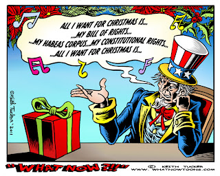 Keith Tucker cartoon: Uncle Sam wanting Bill of Rights for Christmas