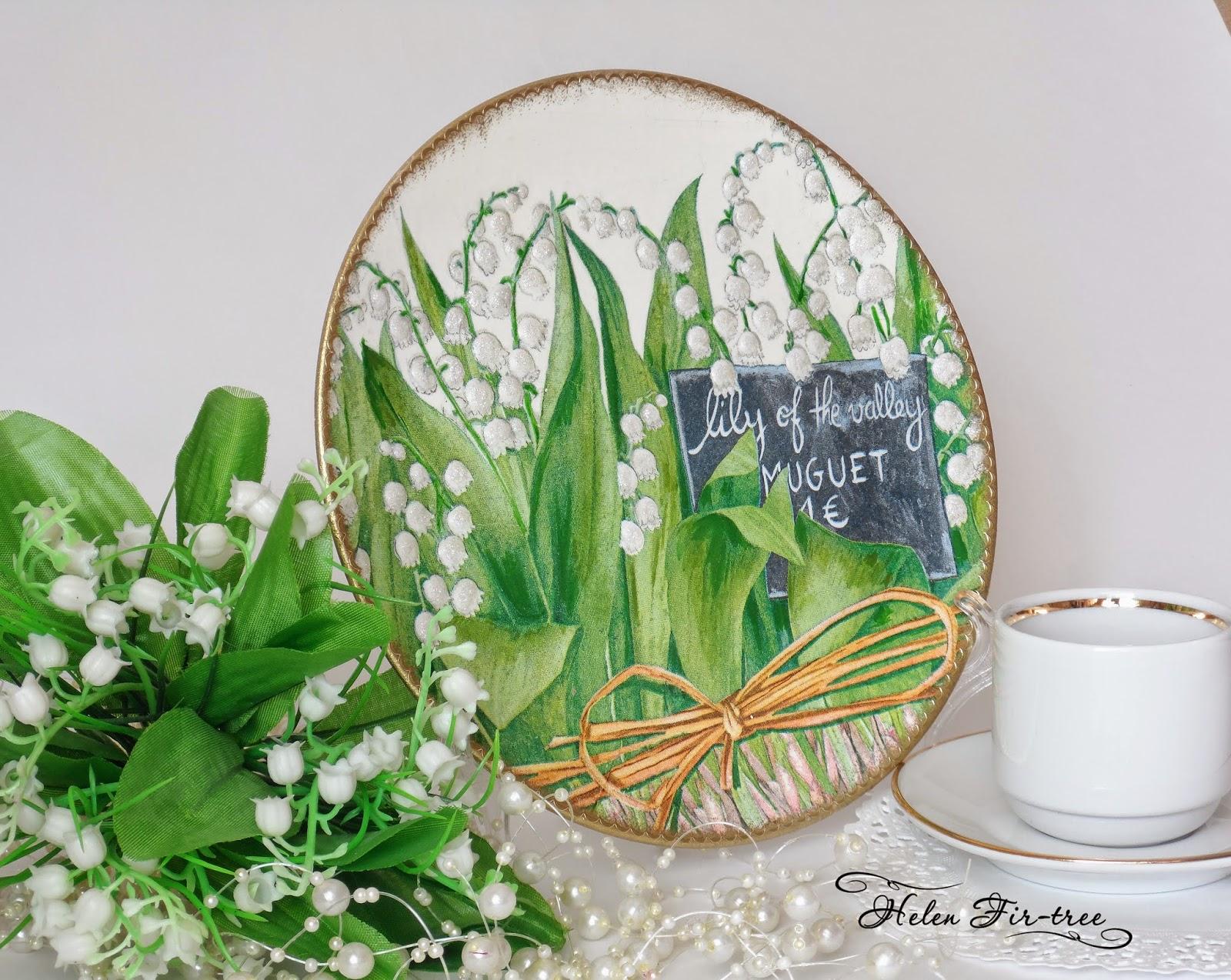 Helen Fir-tree декупаж тарелки ландыши decoupage plates Lily