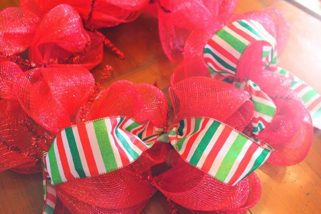 add ribbon to mesh wreath