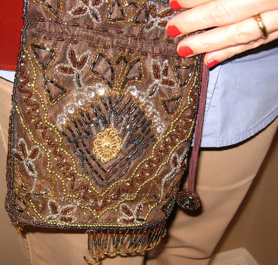 brown beaded handbag
