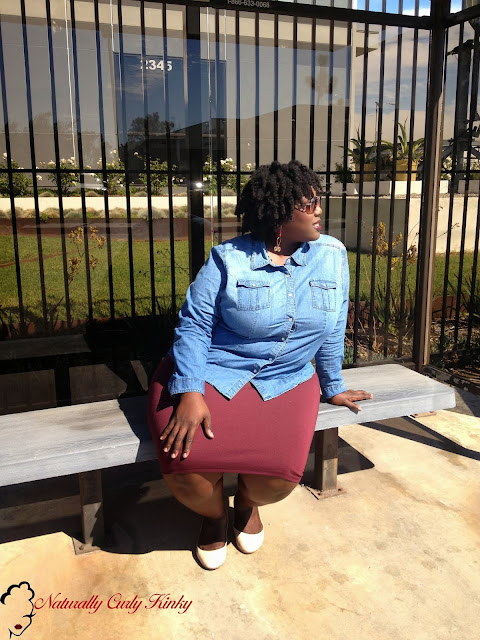 Plus Size, Plus Size Fashion, Style, Plus Size Blogger, OOTD, Outfit of the Day, flats, Curvy, woman of color, african American, Natural Hair, Twist Out, 4C, Team Natural, Payless, Torrid, DIY, skirt, chambray top, lucky