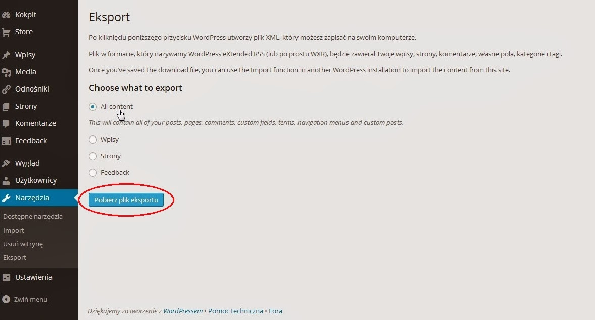 Wordpress - pliki eksportu