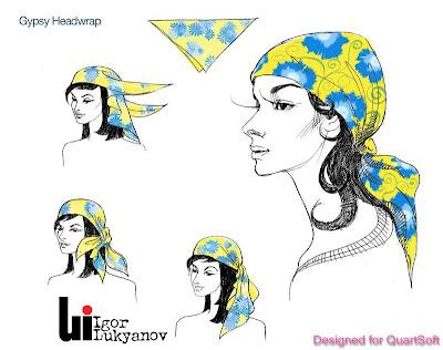 dessin de mode (figurine de mode - une femme avec foulard)