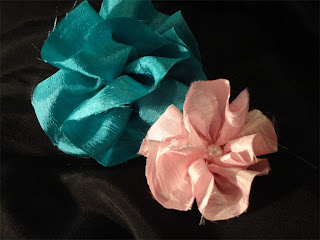 satin gathered flowers