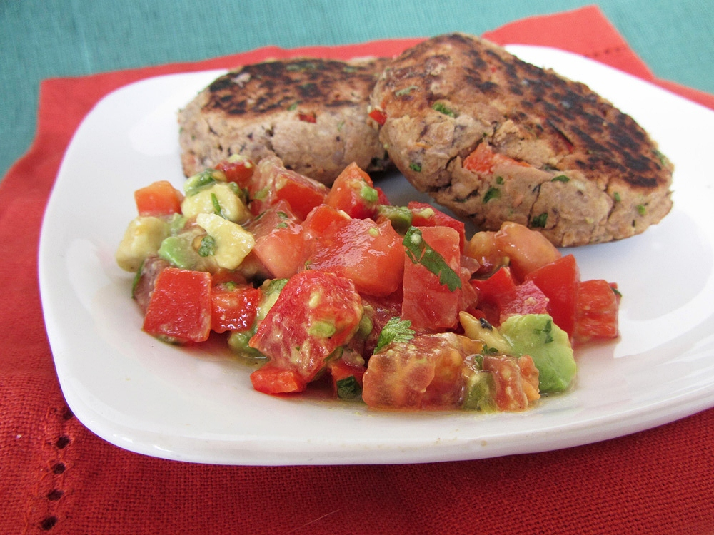 tomato, red pepper, avocado and lime salsa