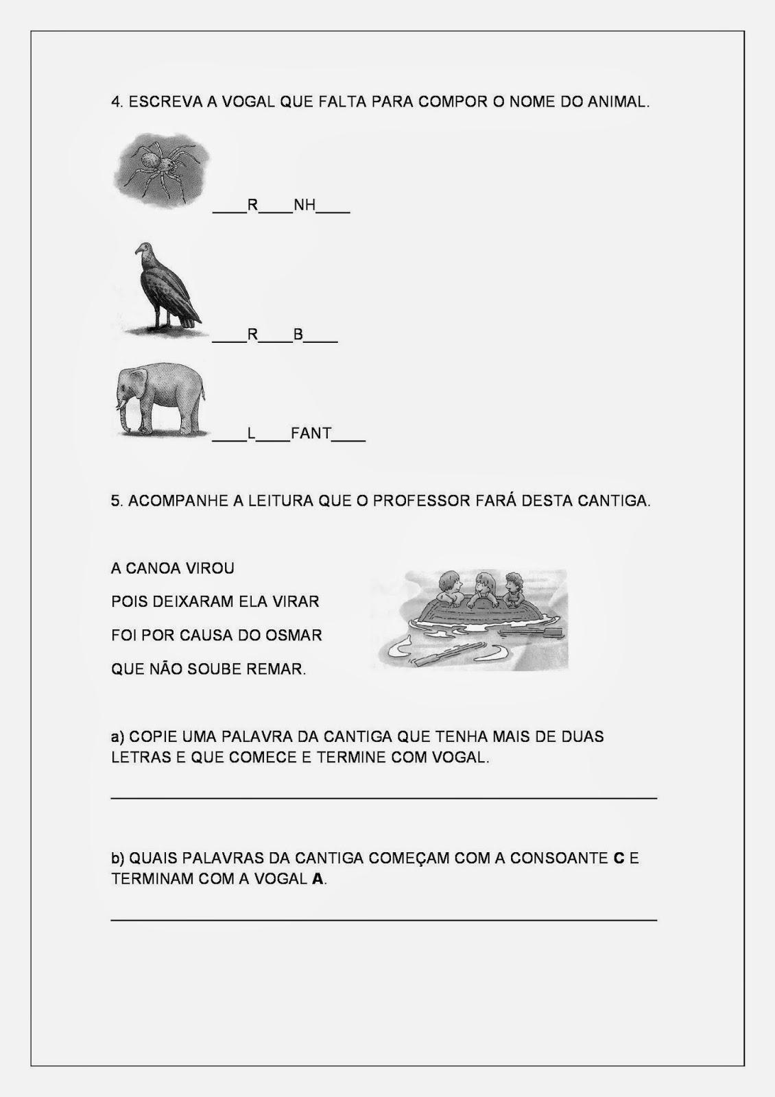 Atividades para Imprimir de Alfabetização - Vogais - Parte 2