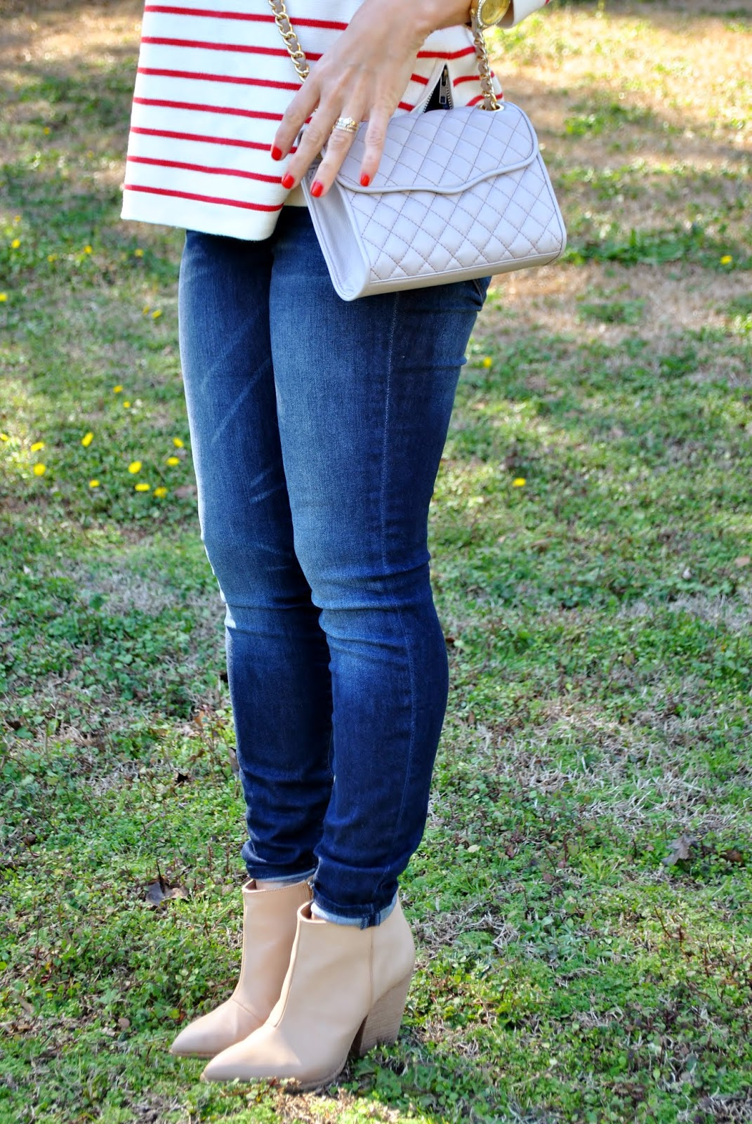J Crew Striped Sweater, J Crew plaid blanket Scarf, Zara Blanket Scarf, Rebecca Minkoff Quilted Affair Handbag, Madewell Skinny Jeans, Sunshine and Sequins Blog