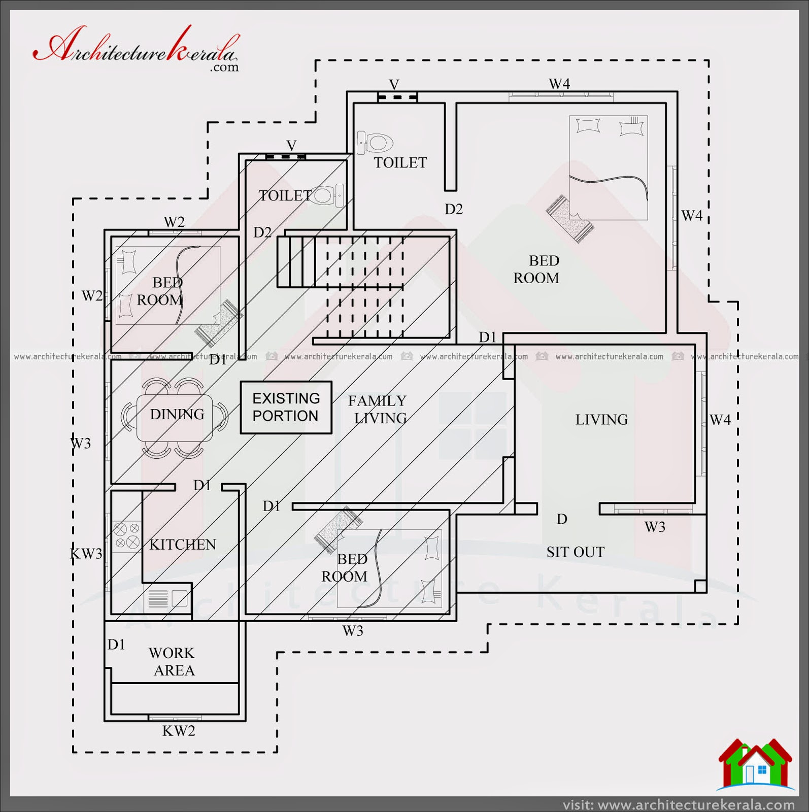 House plans in kerala with 5 bedrooms for 3 bedroom 2 floor house plan kerala