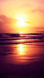Setting Sun Ocean Beach iPhone 6 Wallpaper