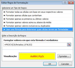 Formatação Condicional, Excel, Calendário