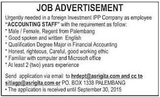Lowongan Kerja Accounting Staff JOB ADVERTISEMENT