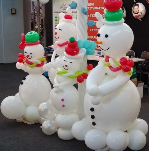 BALLOON SCULPTURES SNOWMAN FAMILLY
