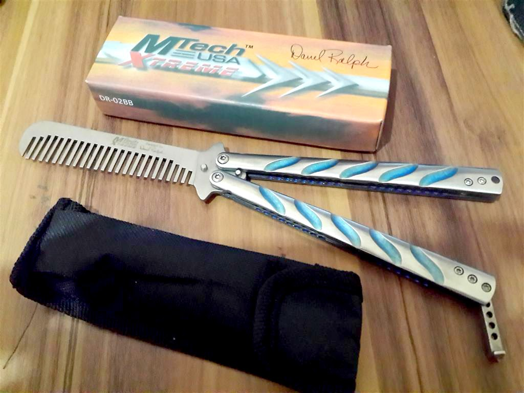Balisong MTech Butterfly Comb Silver Biru