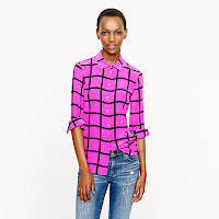 J. Crew Silk Boy Shirt in Windowpane