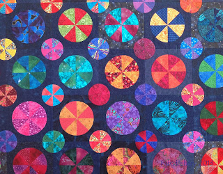 Pies and Tarts Quilt, Brights on Navy