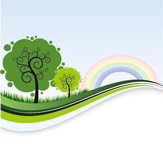 緑の木と虹 Landscape Banner Template with Tree and Rainbow