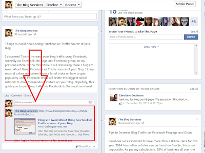 Do not post links on your facebook fanpage updates or wall post