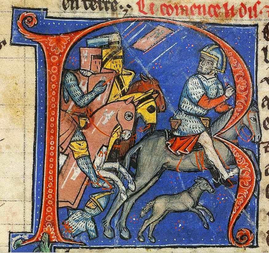 Nur al-din, Sultão de Damasco, foge num animal de carga dos cavaleiros Godfrey Martel e Hugh de Lusignan o Velho