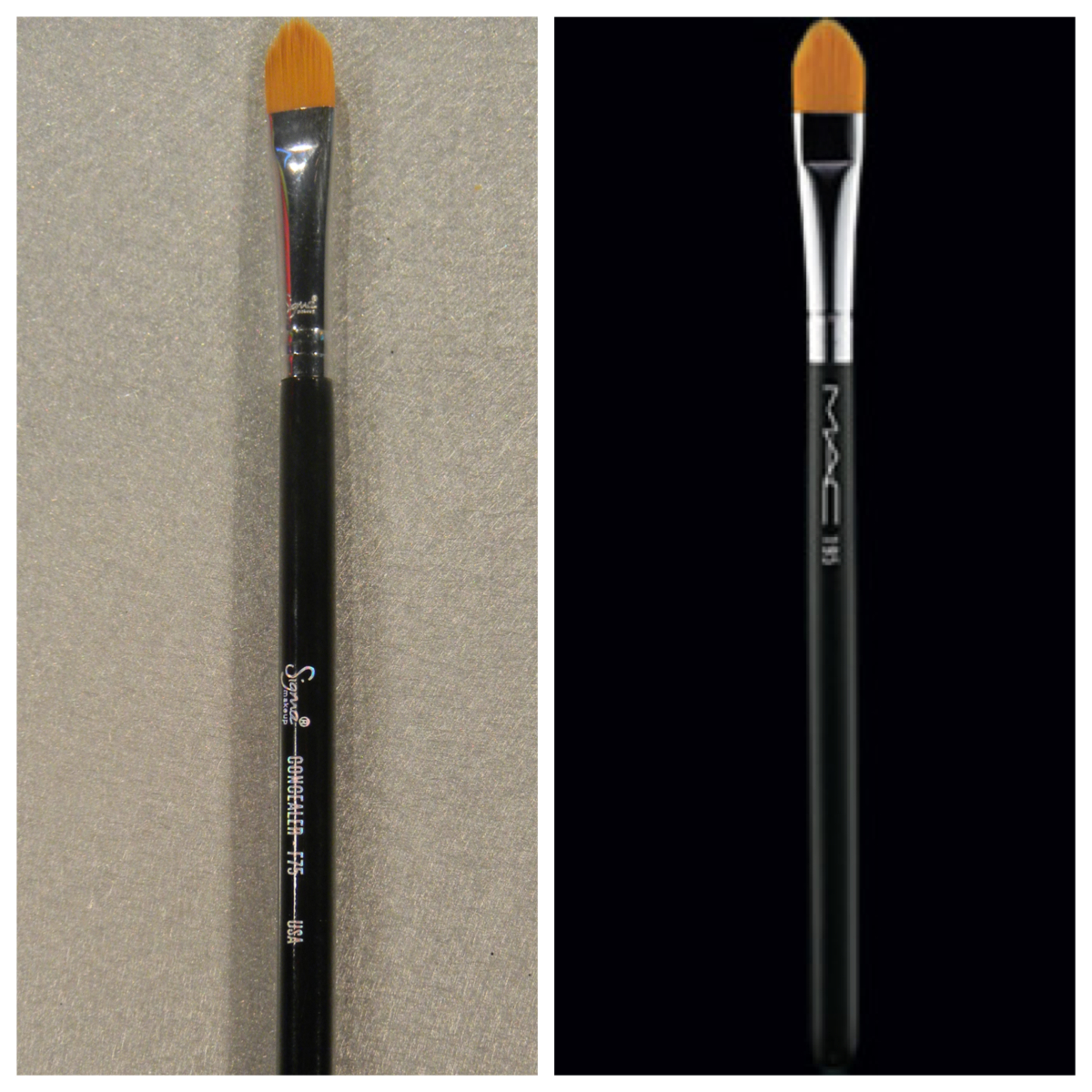 sigma brushes vs mac. f75 vs mac 195- i use this brush to apply concealer under my eyes for highlighting. also it the shape and highlight eyebrows. sigma brushes mac