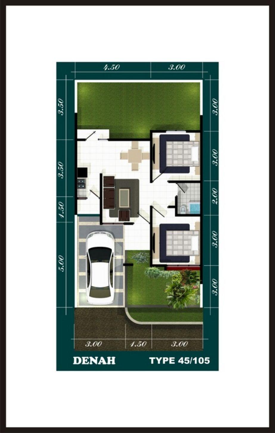 model denah rumah sederhana type 45 yang bagus