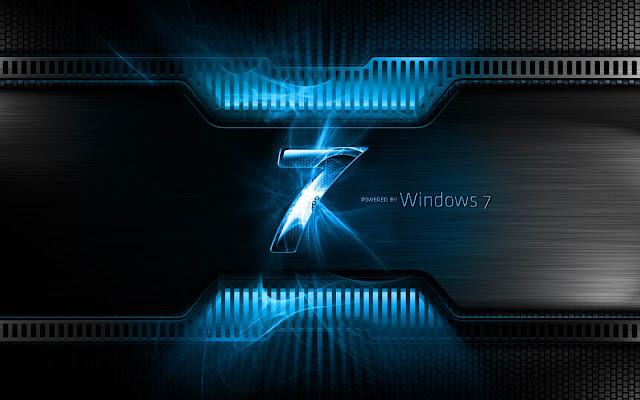Hi tech Windows 7 achtergrond met een blauwe letter 7