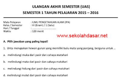 Soal UAS IPA Semester 1 Kelas 6 SD Tahun 2015