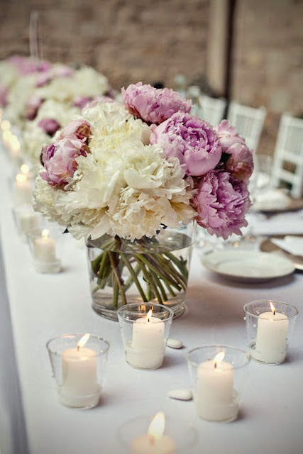 purple and white peony centerpieces