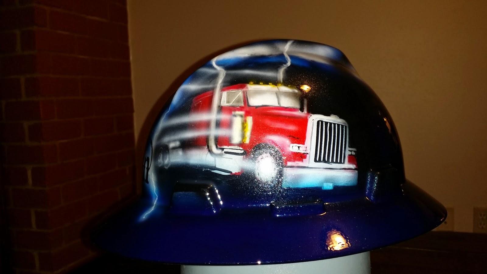 Cool hard hat design with Peterbilt truck