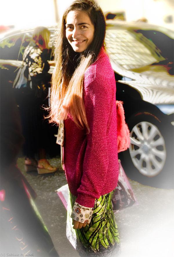 Psynopsis Streetstyle London Pink Cardigan Prada Skirt