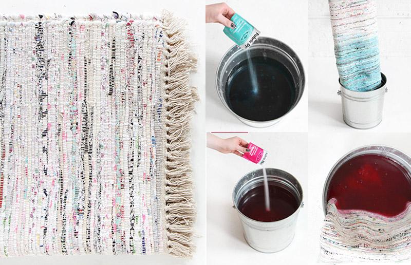 Customização de tapete, tutorial com corante