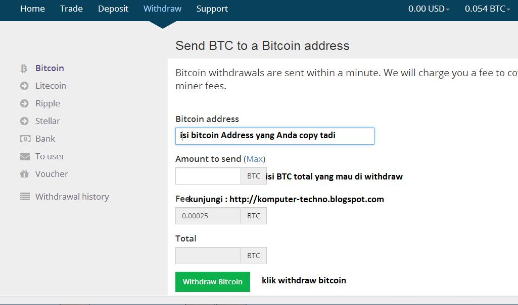Send BTC to Bitcoin Wallet