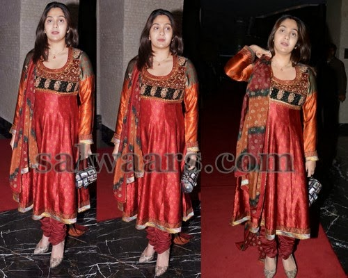Ankitha Red Silk Salwar