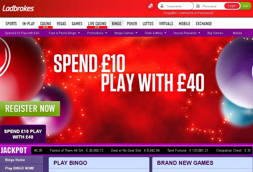 Ladbrokes Bingo Screen