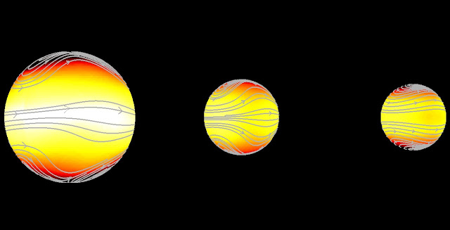 Two out of three possible exoplanet climates (centre and right) are potentially habitable © KU Leuven - Ludmila Carone