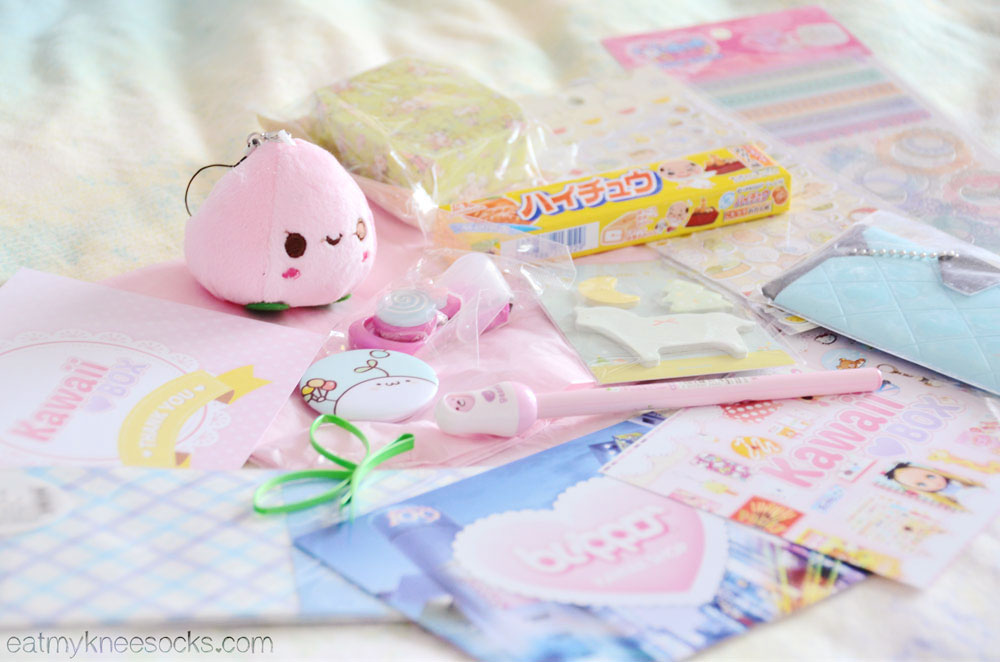 Kawaii Box is full of cute items, including plush charms, DIY/decoden/scrapbooking materials, accessories, candy/snacks, stationery and more for a great value!