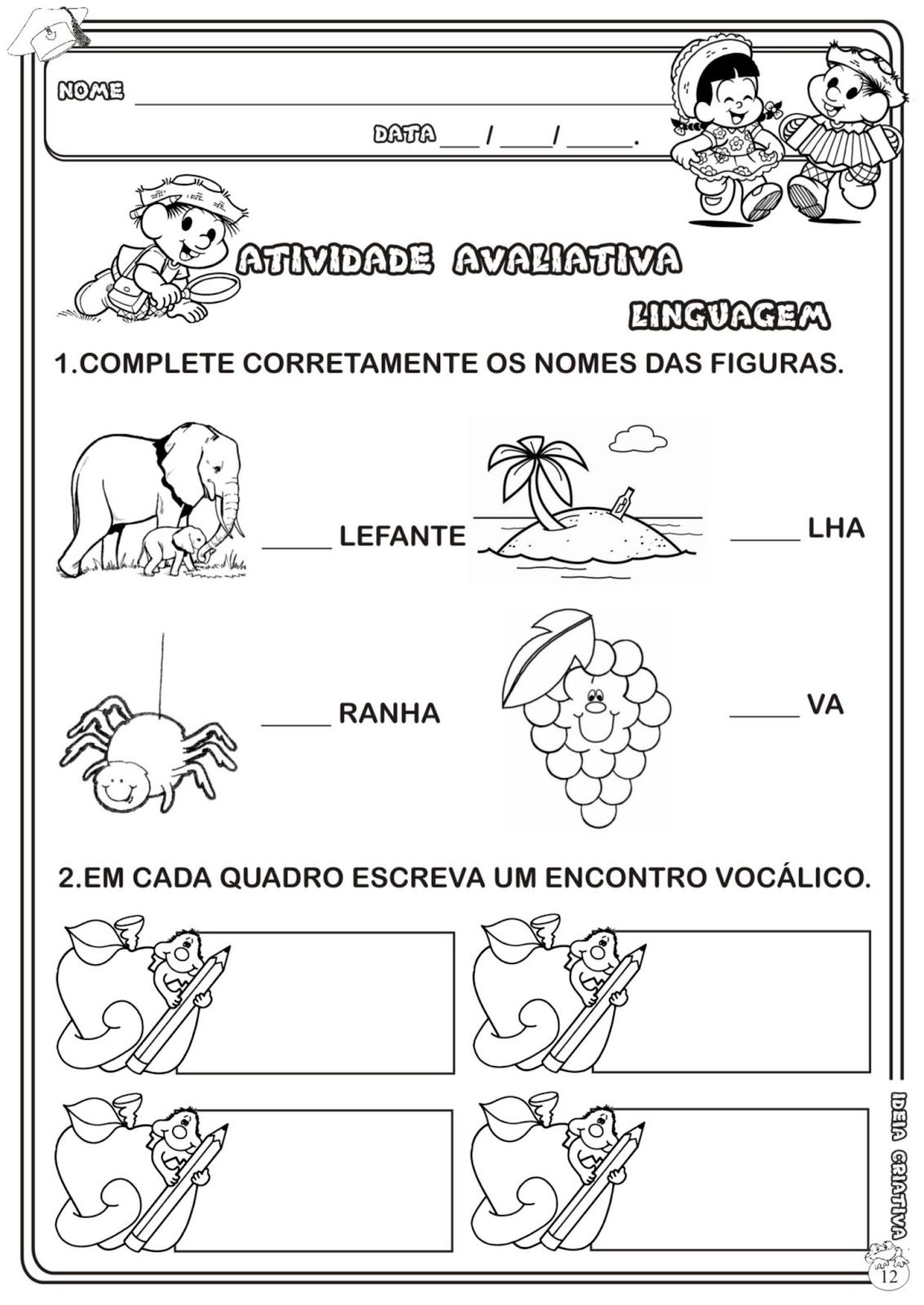 Suficiente Atividade Avaliativa Educação Infantil Linguagem Com a Turma da  TS78