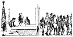 Illustration by Dick Francis accompanying the original publication in Galaxy magazine of short story Mr President by Stephen Arr. Image shows injured war veterans being taken away from the Presidential office.