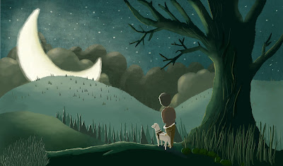 JR's digital illustration of a guide dog team looking out at the moon on top of a hill while under a tree.